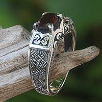 Garnet cocktail ring, 'Noble Princess' - Ornate Handcrafted Garnet and Sterling Silver Cocktail Ring