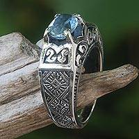 Blue topaz cocktail ring, 'Noble Princess' - Blue Topaz Ring Crafted in Bali of Sterling Silver