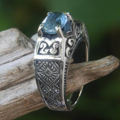 Novica Blue topaz cocktail ring, Noble Princess
