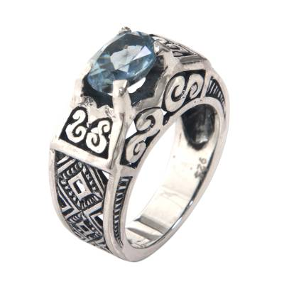 Blue Topaz Ring Crafted in Bali of Sterling Silver
