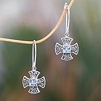 Blue topaz dangle earrings, 'Cross Pattee' - Balinese Handcrafted Silver and Blue Topaz Cross Earrings