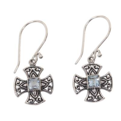 Balinese Handcrafted Silver and Blue Topaz Cross Earrings