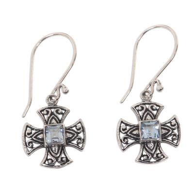Blue topaz dangle earrings, 'Cross Pattee' - Balinese Handcrafted Silver and Blue Topaz Cross Earrings