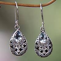 Blue topaz dangle earrings, 'Balinese Teardrops' - Balinese Handcrafted Silver and Blue Topaz Teardrop Earrings
