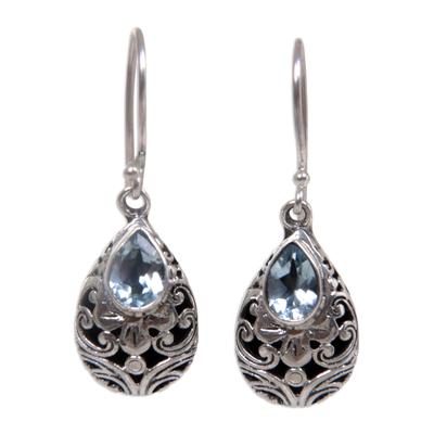 Balinese Handcrafted Silver and Blue Topaz Teardrop Earrings
