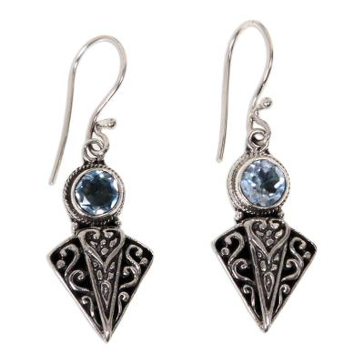 Artisan Handcrafted Sterling Silver and Blue Topaz Earrings