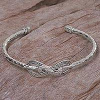 Sterling silver cuff bracelet, 'Infinity Mosaic' - Hand Made Sterling Silver Cuff Bracelet from Indonesia