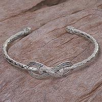 Sterling silver cuff bracelet, 'Infinity Mosaic'