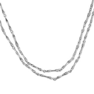 Sterling silver necklace, 'Bamboo Stalks' - Hand Made Sterling Silver Bamboo Theme Necklace