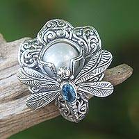 Cultured pearl and blue topaz cocktail ring, 'Rafflesia Flower' - Cultured Pearl Cocktail Ring Dragonfly from Indonesia