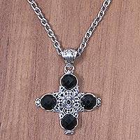 Onyx cross pendant necklace, 'Pillars of Faith' - Black Onyx and Sterling Silver Cross Necklace from Bali