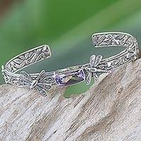 Amethyst cuff bracelet, 'Amid the Dragonflies' - Handcrafted Sterling Silver and Amethyst Cuff Bracelet