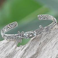 Prasiolite cuff bracelet, 'Amid the Dragonflies' - Balinese Sterling Silver and Prasiolite Dragonfly Bracelet