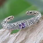 Amethyst and Sterling Silver Cuff Bracelet from Indonesia, 'Sacred Garden in Purple'