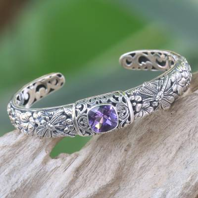 Amethyst cuff bracelet, 'Sacred Garden in Purple' - Amethyst and Sterling Silver Cuff Bracelet from Indonesia