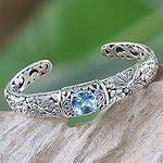 Blue Topaz and Sterling Silver Cuff Bracelet from Indonesia, 'Sacred Garden in Blue'