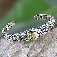 Citrine cuff bracelet, 'Sacred Garden in Yellow' - Citrine and Sterling Silver Cuff Bracelet from Indonesia
