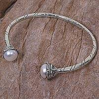 Cultured pearl cuff bracelet, 'White Flower' - Handcrafted Silver Cuff Bracelet with White Cultured Pearls