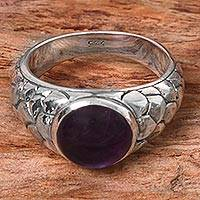 Amethyst cocktail ring, 'Purple-Eyed Snake' - Hand Made Amethyst Sterling Silver Cocktail Ring Indonesia
