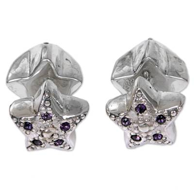 Amethyst Sterling Silver Button Earrings Indonesia
