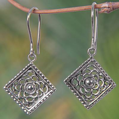 Sterling silver dangle earrings, 'Silver Roses' - Square Sterling Silver Dangle Earrings with Floral Motif