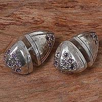 Amethyst stud earrings, 'Amethyst Cones' - Sterling Silver Amethyst Stud Earrings Cone Indonesia