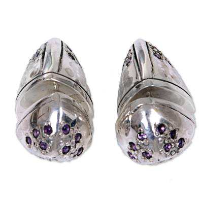 Sterling Silver Amethyst Stud Earrings Cone Indonesia