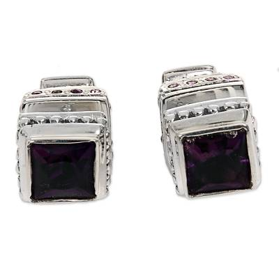 Sterling Silver and Faceted Amethyst Stud Earrings