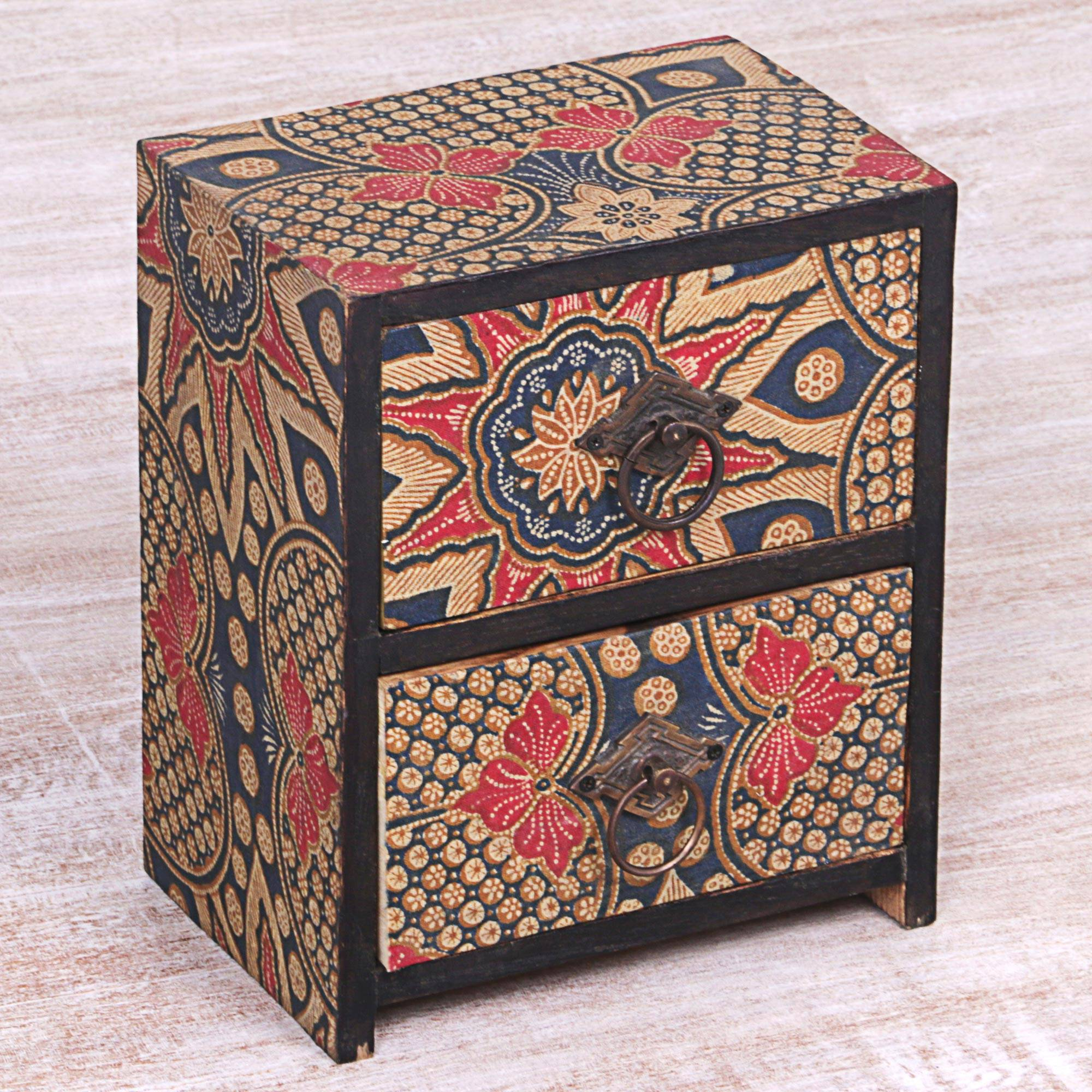 reputable site 605ee 2ce25 Batik Flowers Fabric Covered Wood Mini Chest with 2 Drawers, 'Batik  Blossoms'