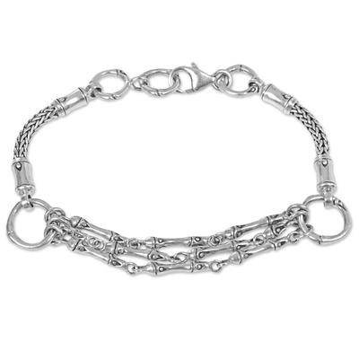Sterling silver link bracelet, 'Kuta Ropes' - Hand Made Sterling Silver Link Bracelet from Indonesia