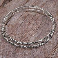 Sterling silver bangle bracelets, 'Indonesian Moon' (pair)