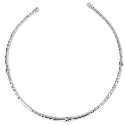 Sterling silver collar necklace, 'Station Mosaic' - Handmade 925 Sterling Silver Collar with Hexagonal Motif
