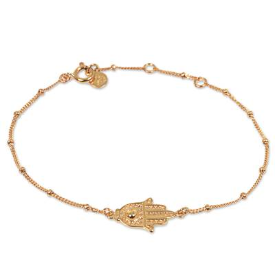 Gold Plated Sterling Silver Pendant Bracelet Hamsa Indonesia
