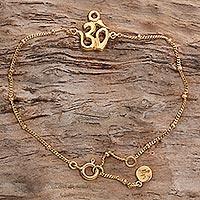 Gold plated sterling silver pendant bracelet, 'Gold Om' - Gold Plated Sterling Silver Pendant Bracelet Om Indonesia