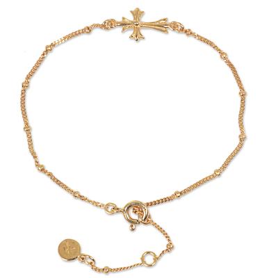 Hancrafted 14k Gold Vermeil Balinese Cross Them Bracelet