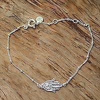 Sterling silver pendant bracelet, 'Silver Hand' - Handmade Sterling Silver Hamsa Hand Bracelet from Indonesia