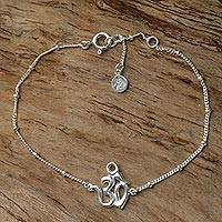 Sterling silver pendant bracelet, 'Centered Om' - Sterling Silver Cuban Link Chain Bracelet with Om Symbol