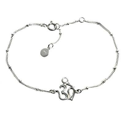 Sterling Silver Cuban Link Chain Bracelet with Om Symbol
