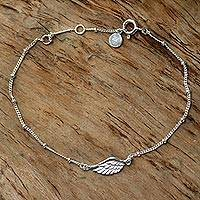 Sterling silver pendant bracelet, 'One-Winged Angel' - Handmade Sterling Silver Pendant Bracelet from Indonesia