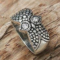 Sterling silver cocktail ring, 'Silver Owl' - Handmade Balinese Sterling Silver Owl Ring with CZ