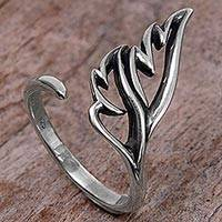 Sterling silver wrap ring, 'Eternal Leaves' - Balinese Artisan Jewelry Leafy Sterling Silver Wrap Ring