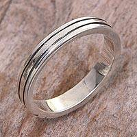 Sterling silver band ring, 'Shiny Minimalist' - Sterling Silver Band Ring with Balinese Minimalist Styling