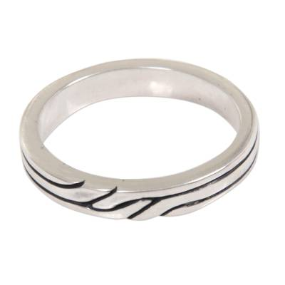 Sterling Silver Band Ring with Balinese Minimalist Styling