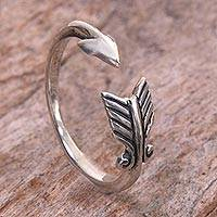 Sterling silver wrap ring, 'Silver Arrow' - Sterling Silver Arrow Engraved Wrap Ring from Indonesia