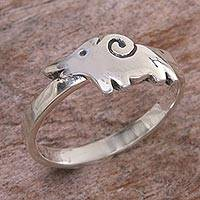 Sterling silver cocktail ring, 'Caressing Elephant' - 925 Sterling Silver Elephant Theme Ring from Indonesia