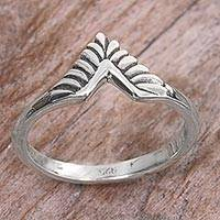 Sterling silver band ring, 'Dove Wing' - Hand Made Sterling Silver Band Ring from Indonesia