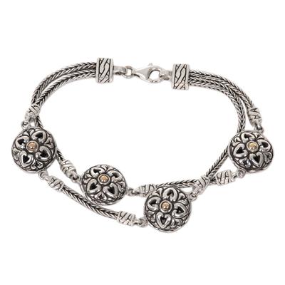 Gold accented sterling silver station bracelet, 'Flowering Hearts' - Sterling Silver Gold Accent Link Bracelet from Indonesia