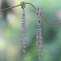 Sterling silver waterfall earrings, 'Bamboo Shoots' - Sterling Silver Dangle Earrings with Bamboo Motif