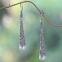 Cultured pearl dangle earrings, 'Borobudur Trumpet' - Cultured Pearl Sterling Silver Dangle Earrings Indonesia