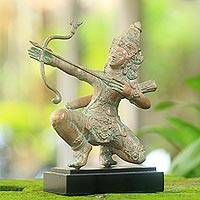 Bronze statuette, 'The Peerless Archer' - Antique Finish Bronze Statuette of Arjuna Archer from Bali